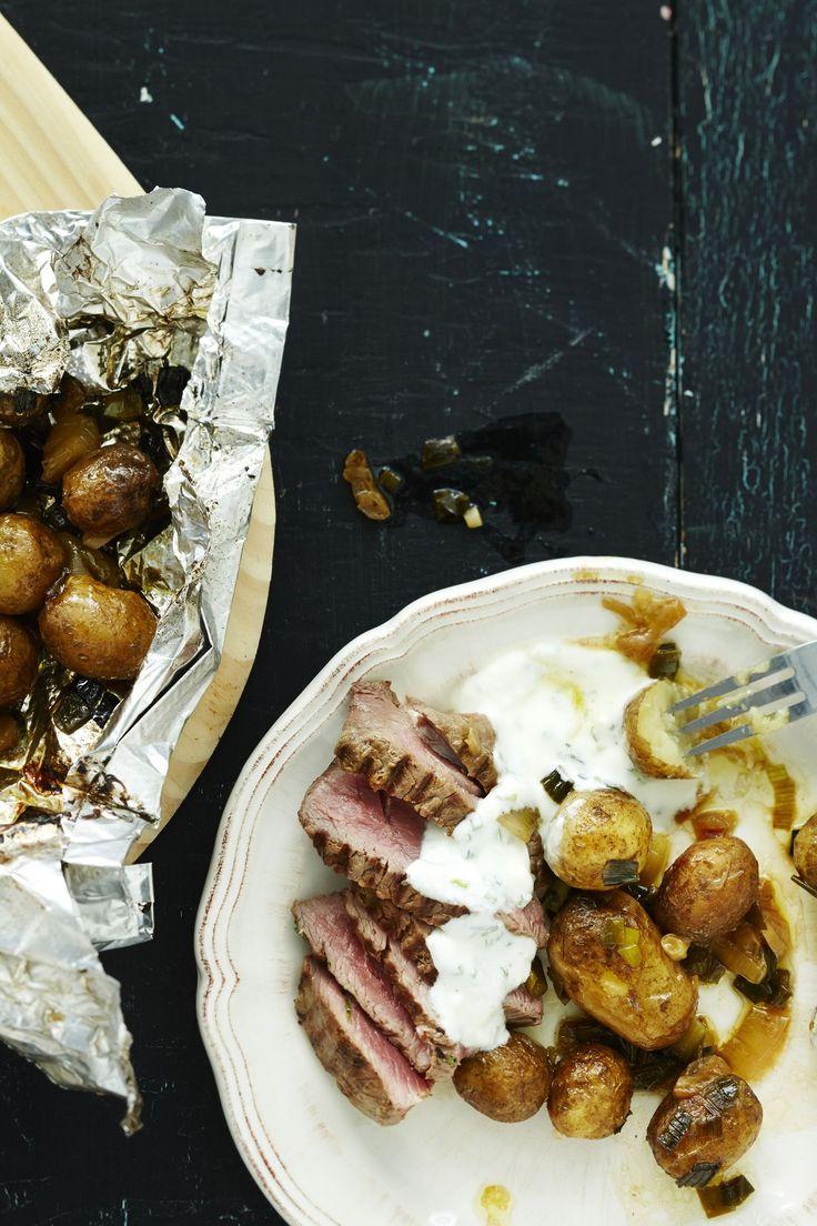 Pussissa grillatut perunat ovat mehukkaita ja ihanan koukuttavia.