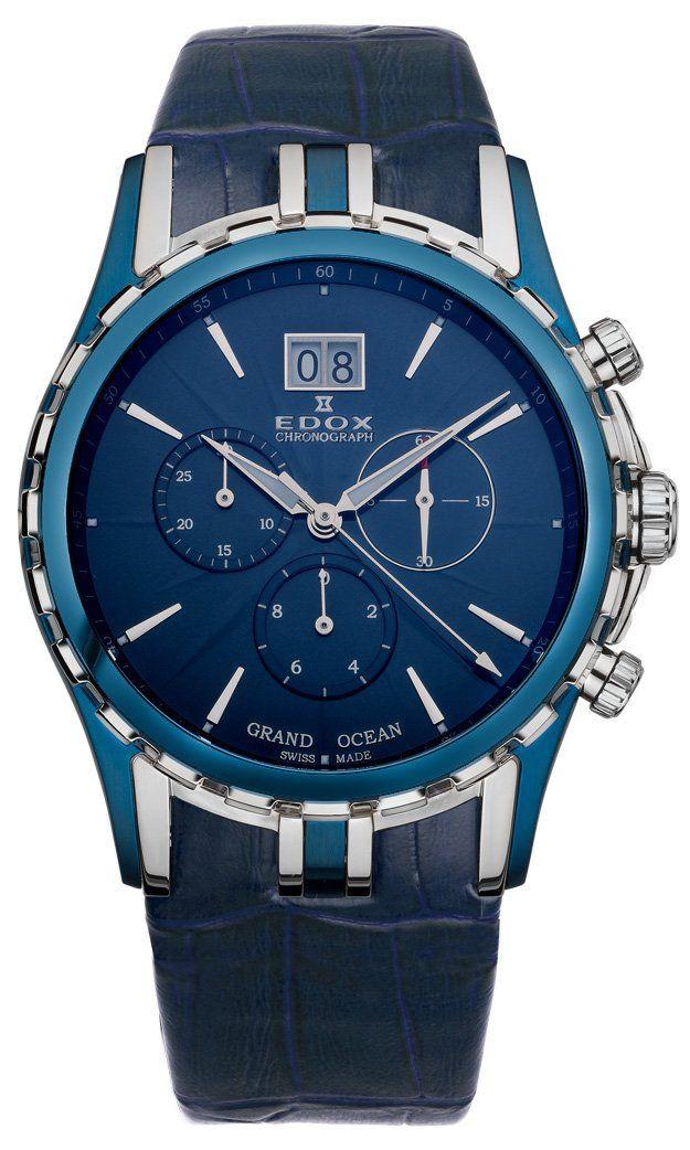Edox Grand Ocean Chronograph Big Date Blue PVD & Steel Mens Luxury Sport Watch 10023-357B-BUIN