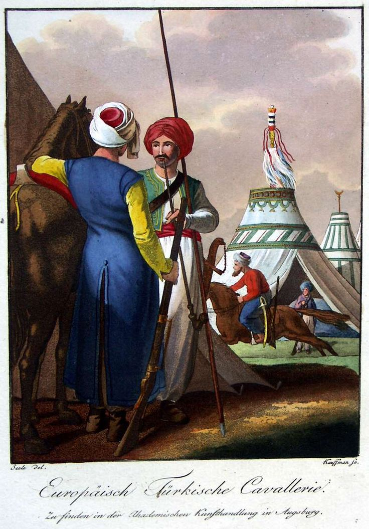 European Turkish cavalry (presumably Balkan). Characteristic representation of the principal European military men or Augsburger Bilder 1802-1810: Ottoman.