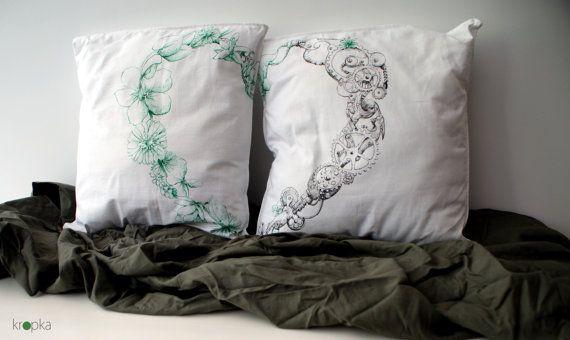 Steampunk pillows set Wedding unique couple Heart by KropkaDesign