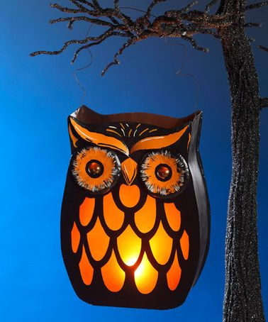Look what I found on #zulily! Black & Orange Owl Lantern #zulilyfinds