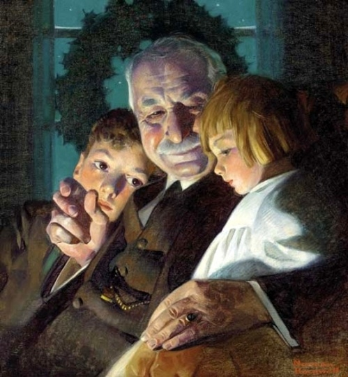 """Grandpa's Christmas Visit"" (The Story of Christmas) - by Norman Rockwell."
