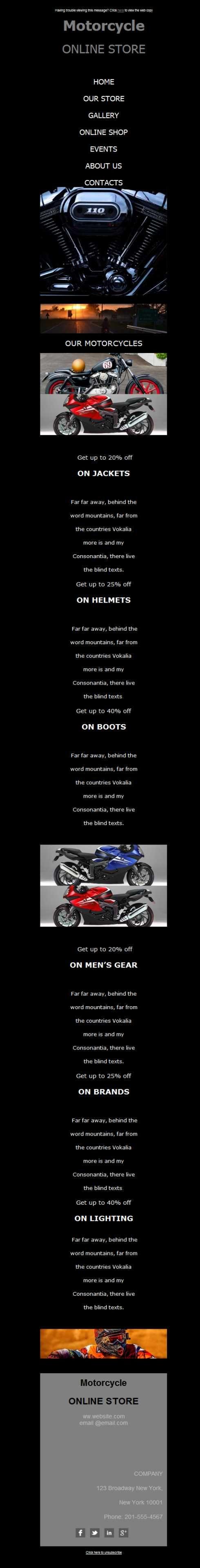 Para carreras, de montaña, urbanas... todo tipo de motocicletas en tu concesionario de motos. Y todo tipo de plantillas newsletter pensadas para cautivar a tus clientes. Sobre todo con este diseño responsive adaptado.