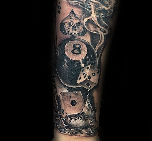 3d Dice Splashing Into Water With 8 Ball Mens Forearm Tattoo