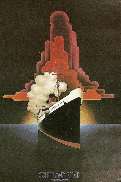 Queen Mary Tour-vintage travel art deco poster