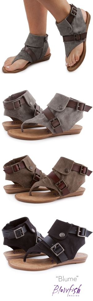 Bloom into spring with Blowfish Shoe's hottest new sandal. Blume is our popular style Balla's sister! This style features a thong style canvas upper with two decorative belts and a decorative flap detail. Not to mention the inside zipper for easy off/on!