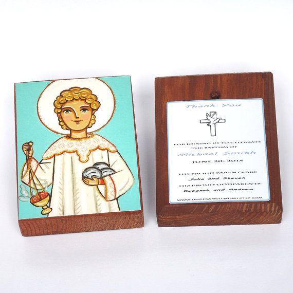 St Stephen prayer wood block print Saint Stephen print on wood Steven Steve Christening favors Personalized favor Boy baptism favors for boy