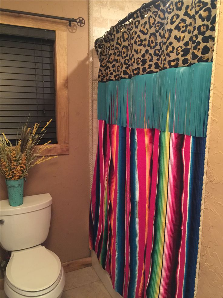 Love my serape shower curtain!!! | Bathroom in 2019 ...