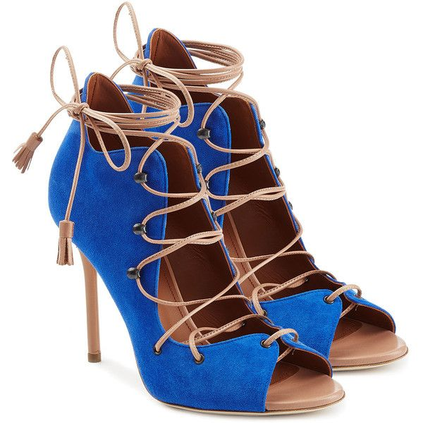 Malone Souliers Sherry Suede Stiletto Sandals ($310) ❤ liked on Polyvore featuring shoes, sandals, heels, blue, blue shoes, heeled sandals, high heel stilettos, lace up heel sandals and lace up stilettos