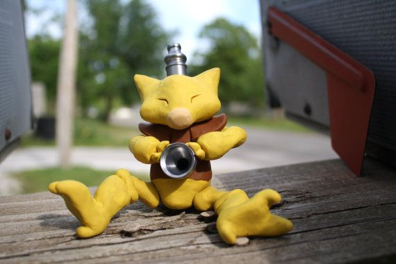 Abra Pokemon Pipe by Fuckinintents on Etsy, $200.00--- not glass but my love of Pokemon trumps that lol
