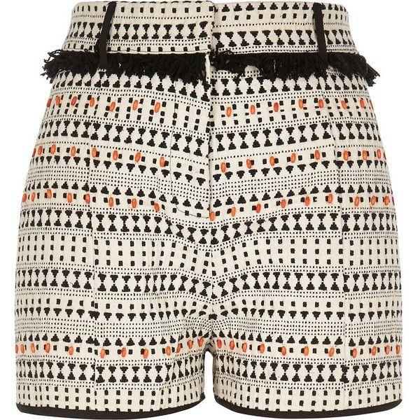 River Island Black print fringe shorts (£49) ❤ liked on Polyvore featuring shorts, black, smart shorts, women, river island, print shorts, patterned shorts, fringe shorts and woven shorts