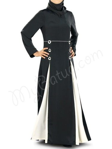 Beautiful Black & off White Party Wear Abaya