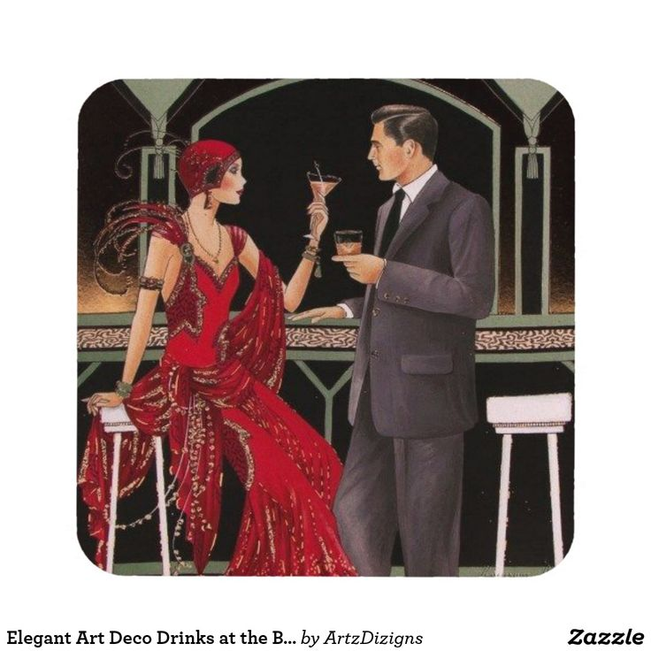 Elegant Art Deco Drinks At The Bar Coasters Christmas
