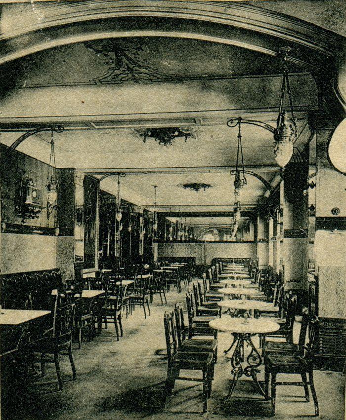 Berlin, Cafe Josty am Potsdamer Platz, um 1889.
