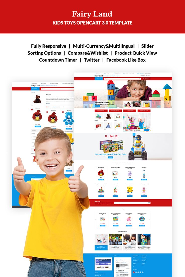 Faury Land - Kids Toys & Clothes OpenCart Template #67260