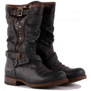 Mustang 1139-609-20 Womens Biker Boots in Dark Grey