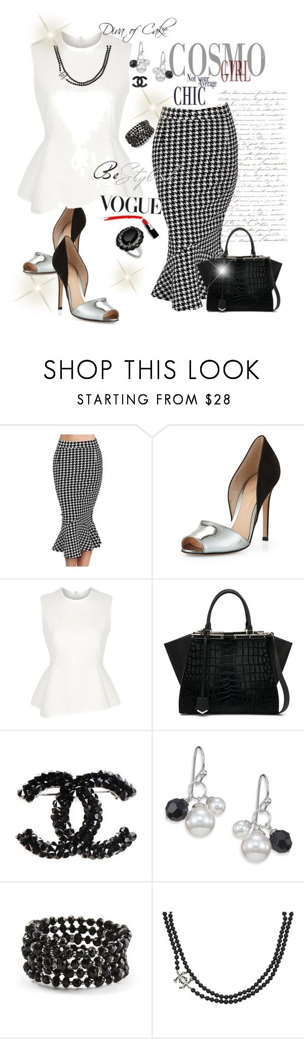 """""""Diva Vogue fashion"""" by kercey ❤ liked on Polyvore featuring WithChic, Gianvito Rossi, Alexander Wang, Fendi, Majorica, White House Black Market and Chanel"""