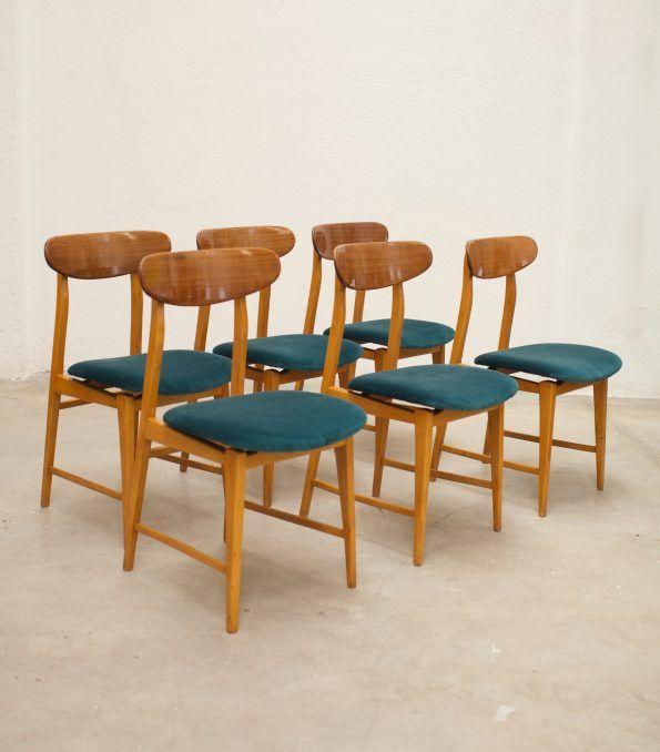 Juego de 6 sillas italianas años 50 azul verdoso - 1950 Italian chairs