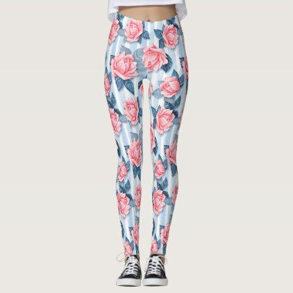 Roses on blue leggings - girly gift gifts ideas cyo diy special unique