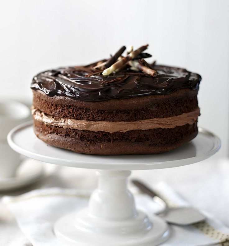 This fantastically fudgey chocolate cake is rich, moist and treacly with a glossy ganache finish