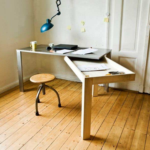 bureau escamotable de travail, espace de rangement