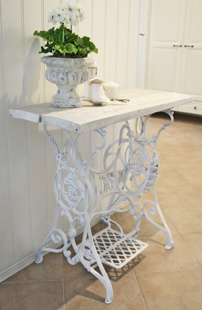 Old sewing machine base ...painted white