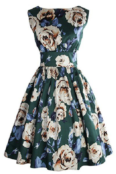 Retro Style Sleeveless Round Neck Floral Print Women's Dress Vintage Dresses | RoseGal.com