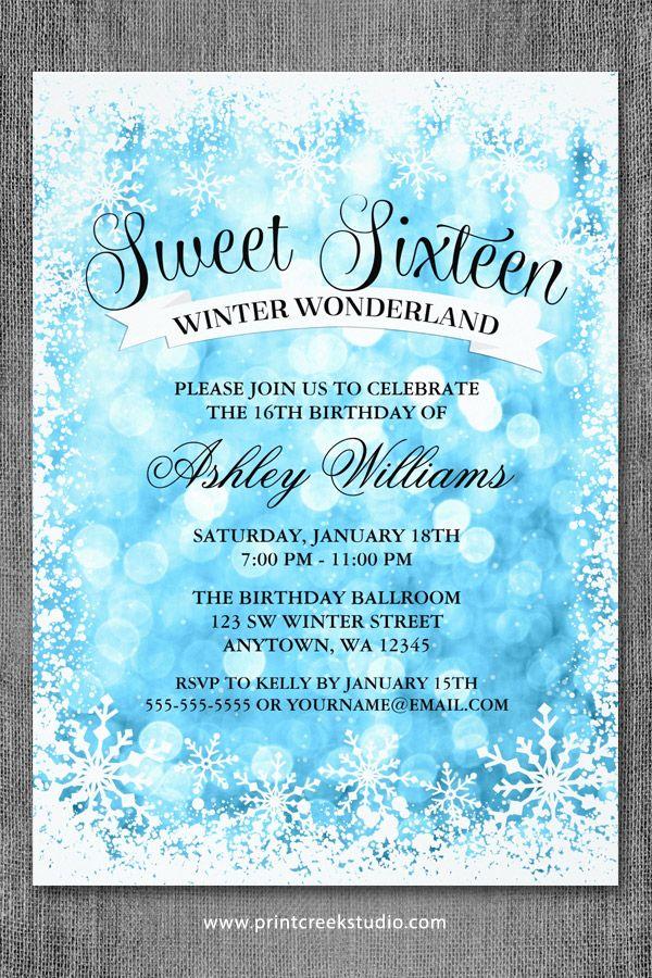 Winter wonderland sweet 16 invitations. A modern design featuring blue glitter…