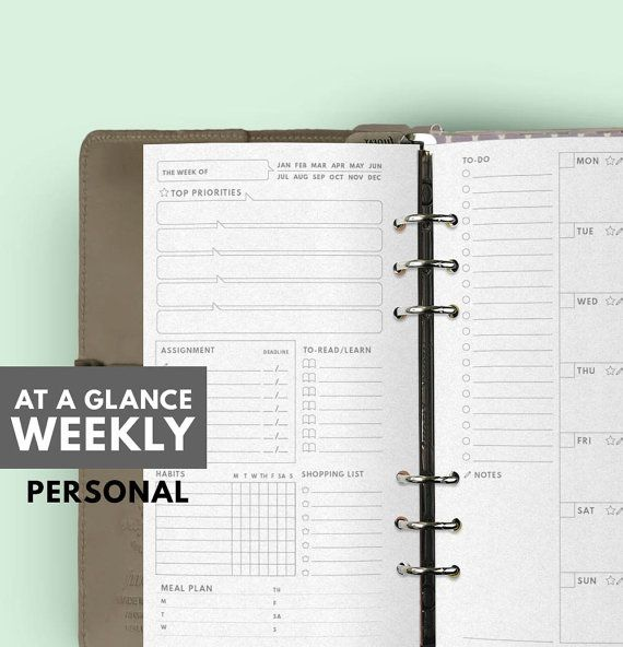 At A Glance Weekly Planner Ver.2.0 ▹ for Filofax Personal Printable At A Glance Weekly Planner in minimal layout This 2 Weekly Planner are contain all list / space for everything you need to get thing done in 1 week ▹ Date ▹ Top Priorities ▹ Assignment with Deadline ▹ To Read/ Learn List ▹ Habit Tracker ▹ Shopping List ▹ Meal Planner (New!) ▹ To-do list ▹ Notes (New!) ▹ Weekly planner ▹ Important Task Icon (Top Priories, Assignment, To-Read, Hydration)  Less is more I always love a big blank…