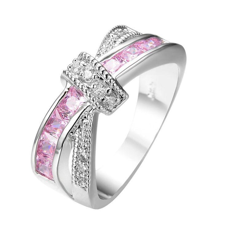 gekreuzt rosa saphir frauen fingerring weiß gold gefüllt schmuck Engagement Jahrgang trauringe für frauen rw0265 | Asien – Orient Online Shop