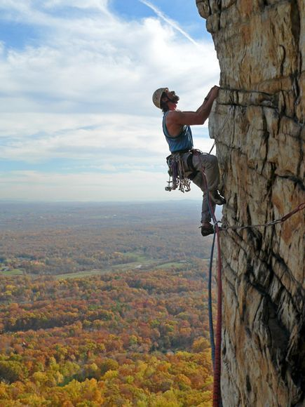 Picture I took of Ethan on the top pitch of Bonnie's Roof at the Gunks - 5.9 Trad 2 Pitches