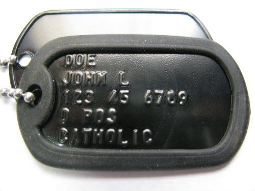 25 cents per 2 dog tags...probably too expensive, but just in case.  Black Custom US Military Dog Tag Personalized ID Set. Complete with Chains and Silencers USA dog tags,http://www.amazon.com/dp/B003YDR58A/ref=cm_sw_r_pi_dp_8HKesb0NW2ER6T7F