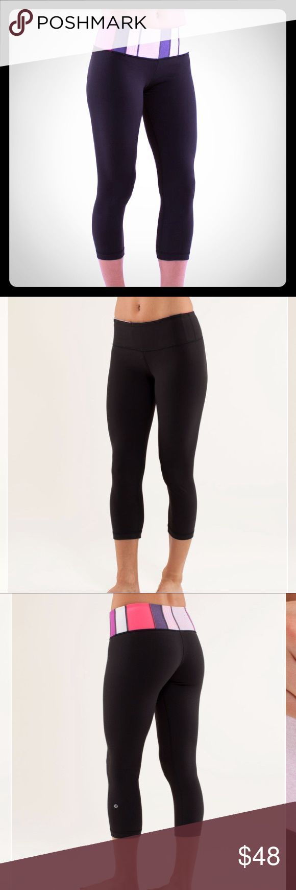 Lululemon Wunder Under Crop: Black/Quilting Spring Coming soon!! VGUC Lululemon Wunder Under Crop. Quilting spring 10/Black reverses to solid black. Moisture-wicking luon fabric. Key pocket in waistband. Gently used condition. First four photos are stock photos to demonstrate fit and style. lululemon athletica Pants Ankle & Cropped