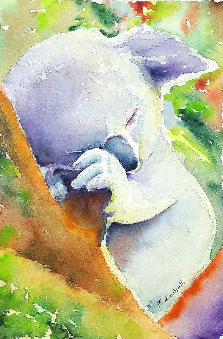 KOALA,acquerello originale,cucciolo,pezzo unico,26x36 cm./10x14 inc.,idea regalo,battesimo,nascita,arte per la casa,decoro cameretta,nursery di FrancescaLicchelli su Etsy