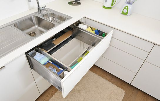 Blum sink pull-out. A drawer that fits around your sink space to keep the clutter of your bench! Love it!