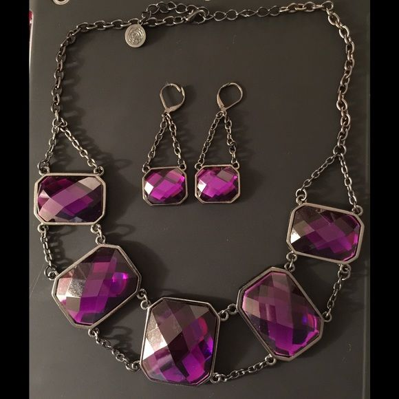 Susan Graver Purple & Black Necklace & Earring Set Susan Graver Purple & black necklace & pierced earring set. Necklace adjustable. Susan Graver Jewelry Necklaces