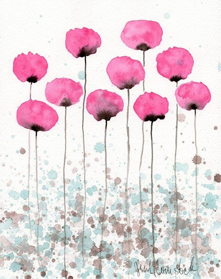 Peinture à laquarelle: Aquarelle fleur peintureArt par PopwheelArt