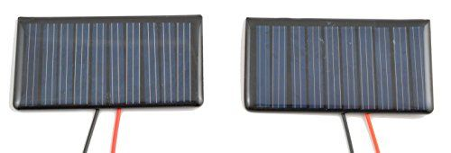 Small Solar Panel 5.0V 50mA with wires - 2 pk  Small solar panels for science projects  Power small motors or other loads  High-efficiency encapsulated solar panel  Wire in series for 50mA @ 6V or parallel for 100mA @ 5V
