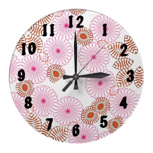 pink orange flowery pattern pretty decorative kitchen wall clock