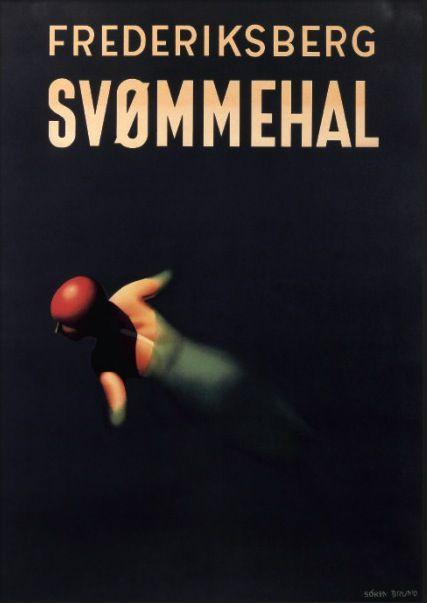 Frederiksberg svømmehal. Søren Bruno. #poster #plakat #vintage #plakatgalleri