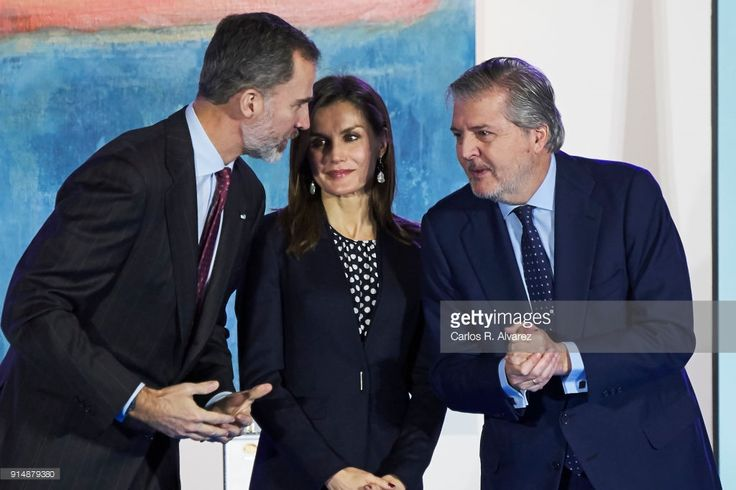 Queen Letizia of Spain (C) King Felipe VI of Spain (L) and Spanish Minister of Education, Culture and Sports Inigo Mendez de Vigo (R) attend the Gold Medals of Merit in Fine Arts 2016 ceremony at the Pompidou Center on February 6, 2018 in Malaga, Spain.