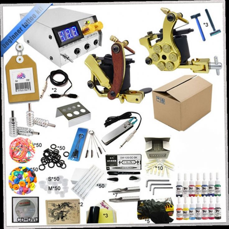 48.25$  Buy now - http://ali1a1.worldwells.pw/go.php?t=32538333507 - 2016 Body art beginner tattoo kit makeup set 2 gun tattoo machine Cheap tattoo ink kits with needls and tips