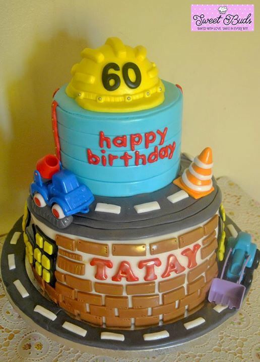 When A Civil Engineer Dad Turns Sixty. Happy Lovely Birthday! #SweetBuds #BakedWithLove #BirthdayCake #Fondant #Cake