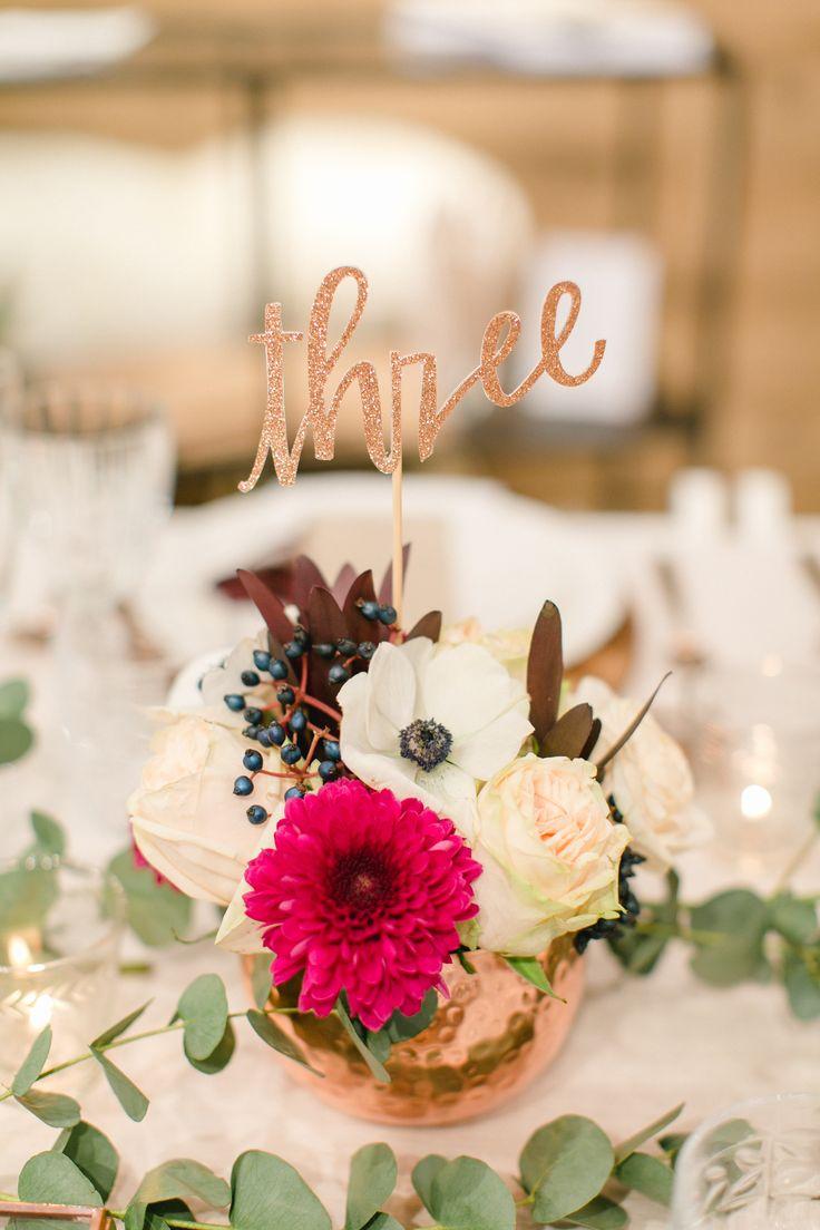 Dekoration | Tischdeko | Kupfer | rustikal | Hochzeit | Blumen | Kerzen | Eukalyptus | Copper | Weddingtable | Tischnummer