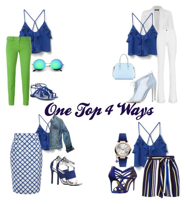 """Blue Silk Top 4 Ways"" by nikkinicoleinc on Polyvore featuring MANGO, Jacob Cohёn, Ally Fashion, Frame Denim, Boston Proper, Jonathan Saunders, New Look, Chloe Gosselin, Ted Baker and Stuart Weitzman"