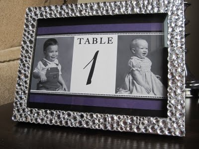 Like this idea...Use table number of age of bride and groom with pictures