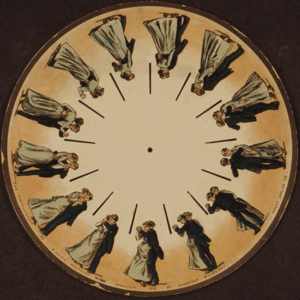 """""""In 1893, Muybridge used the phenakistoscope — an early animation device that harnessed the """"persistence of vision"""" principle to create an illusion of motion — to extend his visual studies to animation."""""""