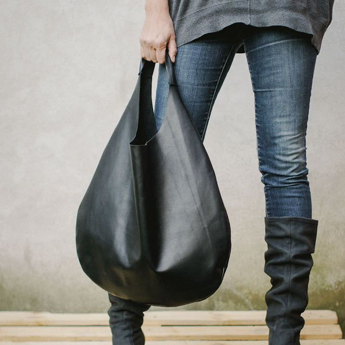 Fresh Milk Daily Pick: Black Leather Hobo Bag