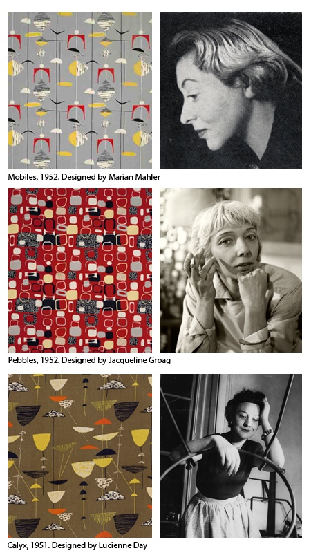 Post war British women textile designers, Marian Mahler, Jacqueline Groag, Lucienne Day.