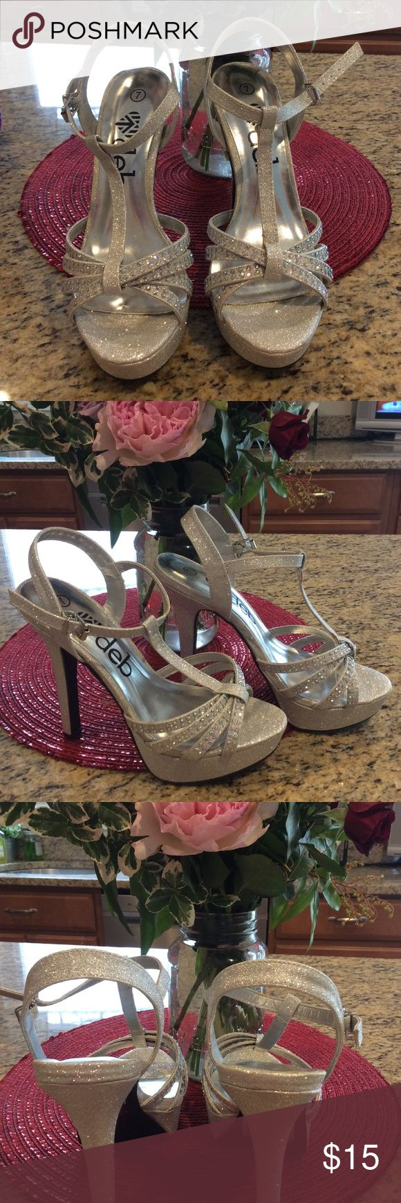 Deb Shop Prom Silver Sparkly Rhinestone Heels new These I bought in bed shop n never wore them ! Strapped with rhinestones in perfect shape brand new! Size 7 adjustable buckle strap! No smoking clean no pet home! Fast shipping great for prom! deb Shoes